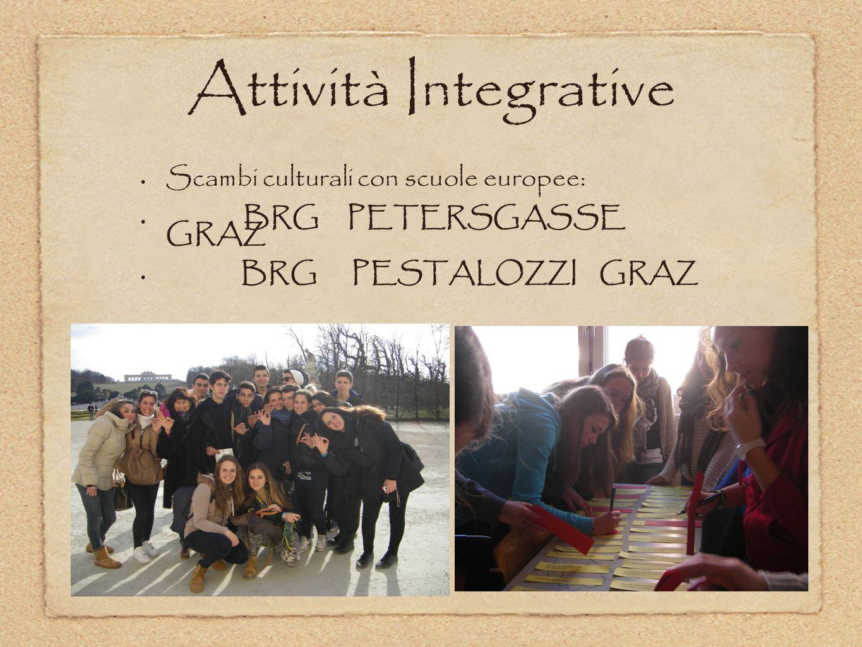 Attività Integrative Scambi culturali con scuole europee: BRG PETERSGASSE GRAZ BRG PESTALOZZI GRAZ