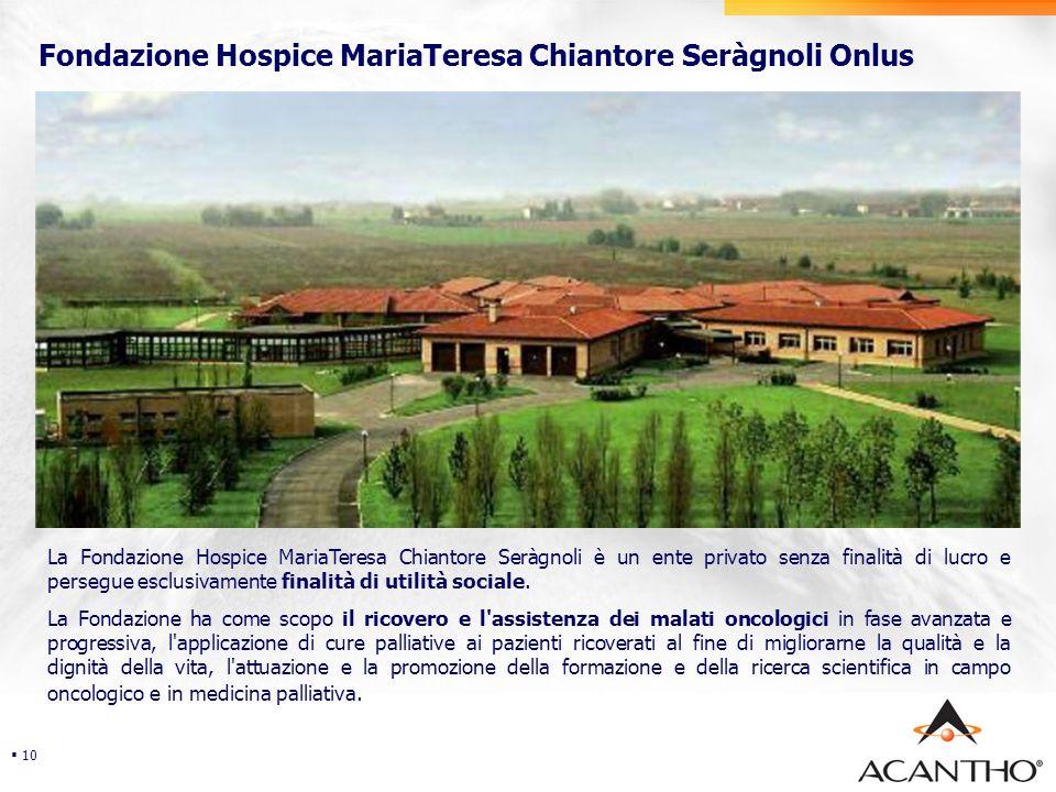 Security Fondazione Hospice MariaTeresa Chiantore Seràgnoli Onlus 10 La Fondazione Hospice MariaTeresa Chiantore Seràgnoli è un ente privato senza finalità di lucro e persegue esclusivamente finalità di utilità sociale.