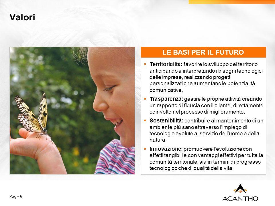 Valori Pag 6 LE BASI PER IL FUTURO Territorialità: favorire lo sviluppo del territorio anticipando e interpretando i bisogni tecnologici delle imprese, realizzando progetti personalizzati che aumentano le potenzialità comunicative.