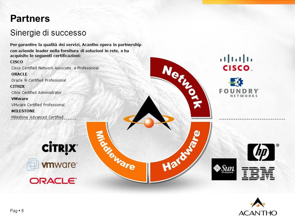 Partners Pag 8 Per garantire la qualità dei servizi, Acantho opera in partnership con aziende leader nella fornitura di soluzioni in rete, e ha acquis