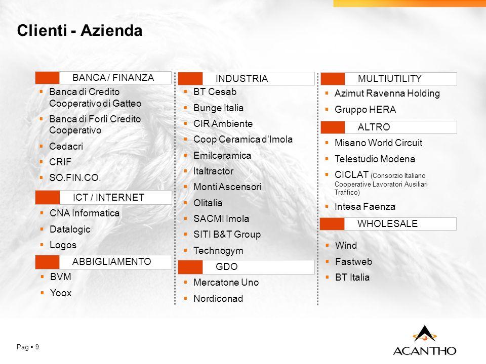 Clienti - Azienda Pag 9 CNA Informatica Datalogic Logos Banca di Credito Cooperativo di Gatteo Banca di Forlì Credito Cooperativo Cedacri CRIF SO.FIN.CO.