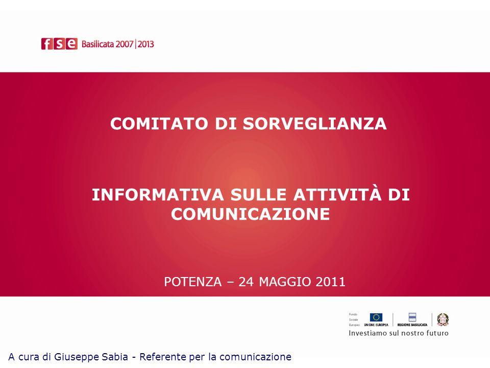 COMITATO DI SORVEGLIANZA POTENZA – 24 MAGGIO 2011 INFORMATIVA SULLE ATTIVITÀ DI COMUNICAZIONE A cura di Giuseppe Sabia - Referente per la comunicazione