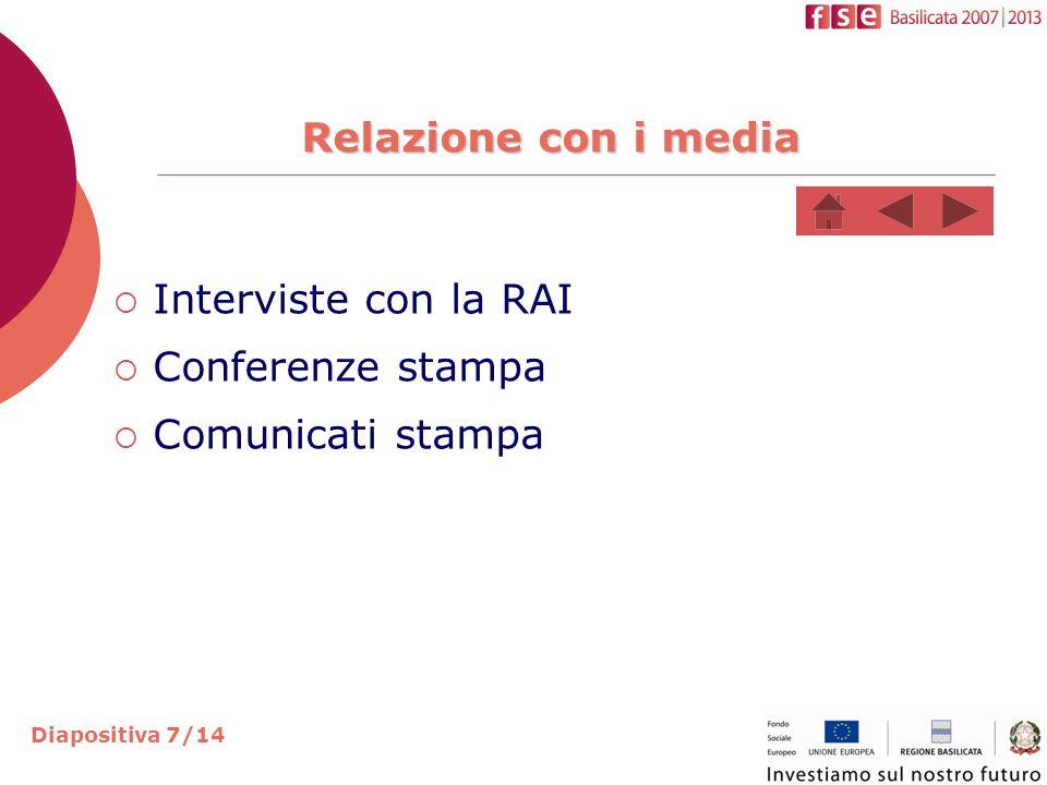 Relazione con i media Interviste con la RAI Conferenze stampa Comunicati stampa Diapositiva 7/14