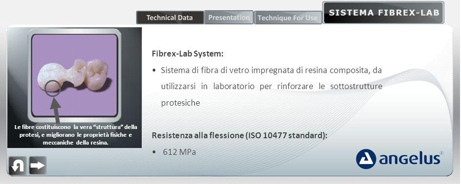 Fibrex-Lab System: Sistema di fibra di vetro impregnata di resina composita, da utilizzarsi in laboratorio per rinforzare le sottostrutture protesiche Resistenza alla flessione (ISO 10477 standard): 612 MPa Le fibre costituiscono la vera struttura della protesi, e migliorano le proprietà fisiche e meccaniche della resina.