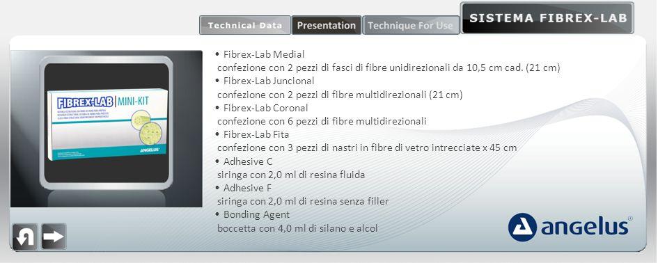 Fibrex-Lab Medial confezione con 2 pezzi di fasci di fibre unidirezionali da 10,5 cm cad. (21 cm) Fibrex-Lab Juncional confezione con 2 pezzi di fibre