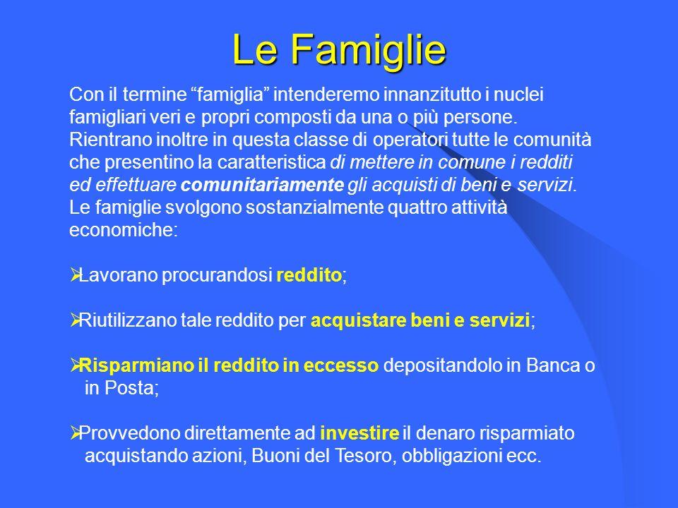 Le Famiglie Con il termine famiglia intenderemo innanzitutto i nuclei famigliari veri e propri composti da una o più persone.