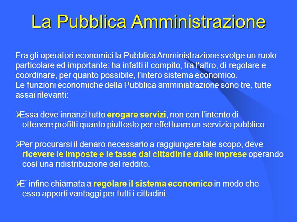 La Pubblica Amministrazione Fra gli operatori economici la Pubblica Amministrazione svolge un ruolo particolare ed importante; ha infatti il compito, tra laltro, di regolare e coordinare, per quanto possibile, lintero sistema economico.