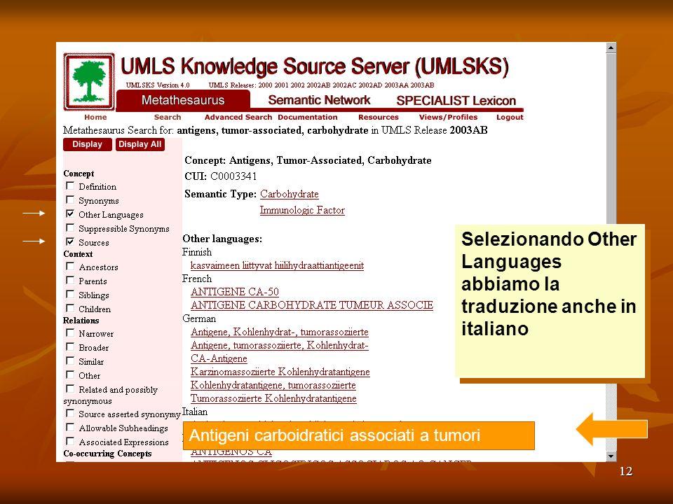 12 Selezionando Other Languages abbiamo la traduzione anche in italiano Antigeni carboidratici associati a tumori