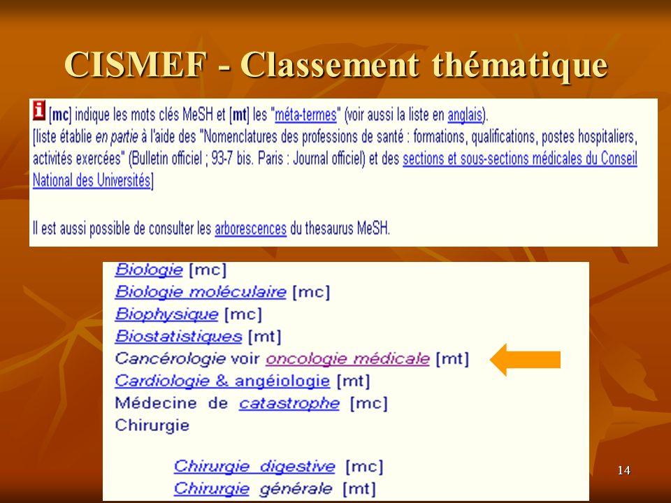 14 CISMEF - Classement thématique