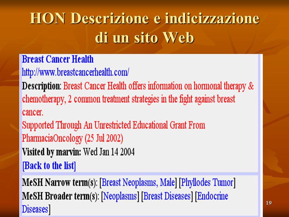 19 HON Descrizione e indicizzazione di un sito Web
