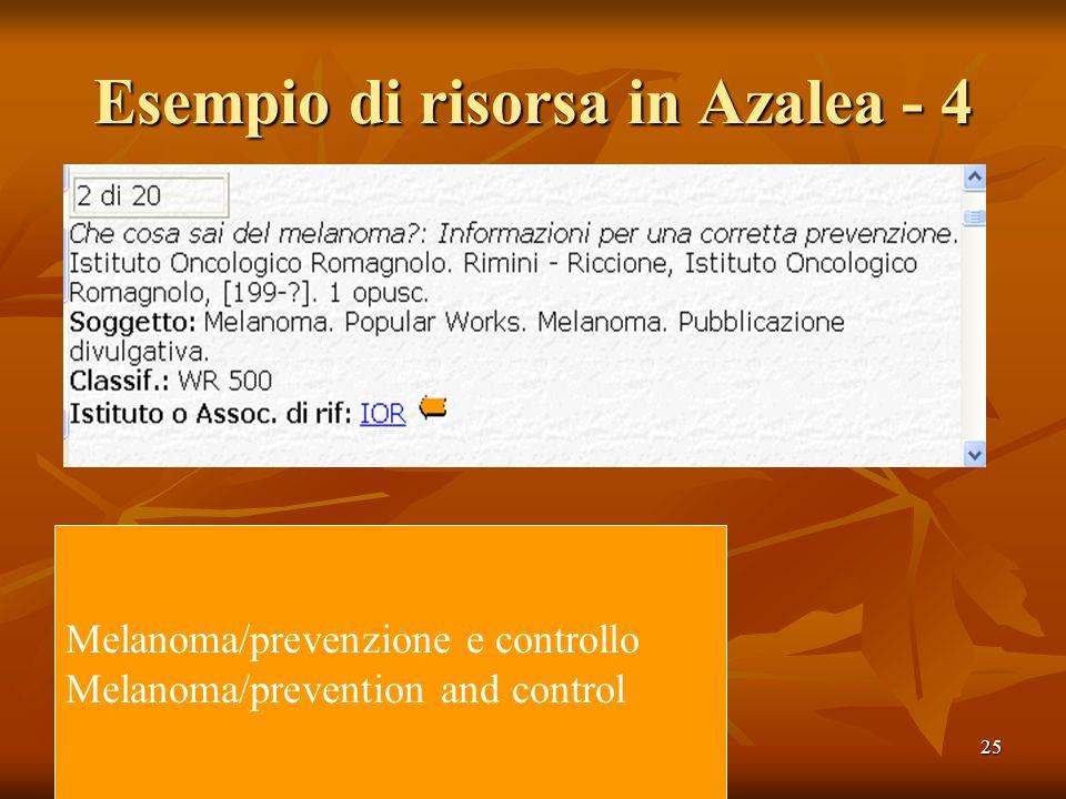25 Esempio di risorsa in Azalea - 4 Melanoma/prevenzione e controllo Melanoma/prevention and control