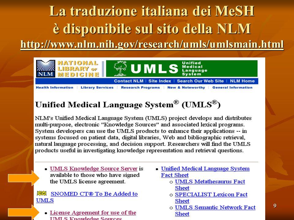 9 La traduzione italiana dei MeSH è disponibile sul sito della NLM http://www.nlm.nih.gov/research/umls/umlsmain.html http://www.nlm.nih.gov/research/umls/umlsmain.html