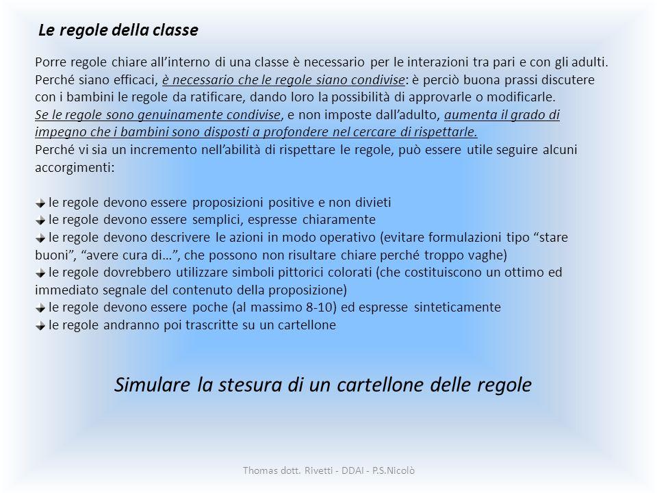 Le regole della classe Thomas dott. Rivetti - DDAI - P.S.Nicolò Porre regole chiare allinterno di una classe è necessario per le interazioni tra pari
