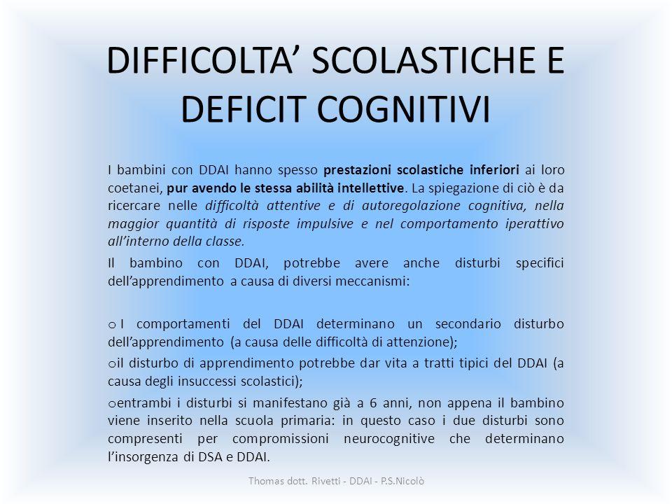DIFFICOLTA SCOLASTICHE E DEFICIT COGNITIVI I bambini con DDAI hanno spesso prestazioni scolastiche inferiori ai loro coetanei, pur avendo le stessa abilità intellettive.