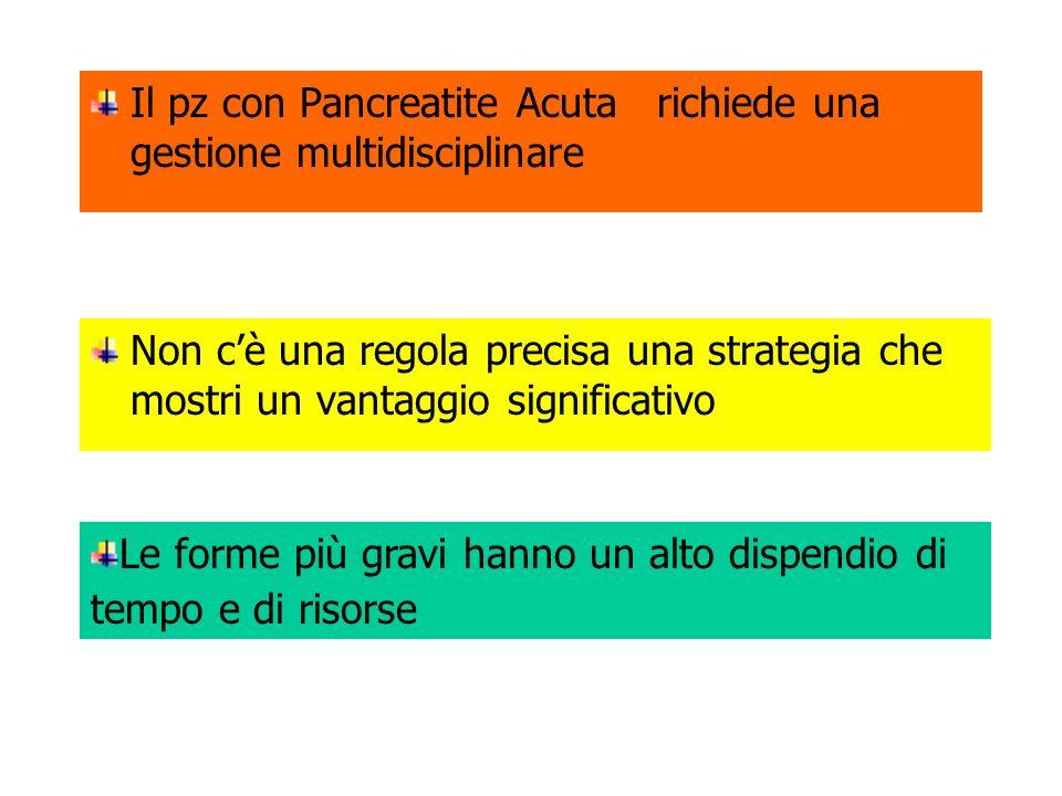 Il pz con Pancreatite Acuta richiede una gestione multidisciplinare Non cè una regola precisa una strategia che mostri un vantaggio significativo Le forme più gravi hanno un alto dispendio di tempo e di risorse