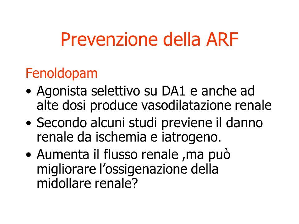 Prevenzione della ARF Mannitolo Nonostante i modelli animali non ci sono prove che sia più efficace di una buona idratazione nel prevenire lARF Furose