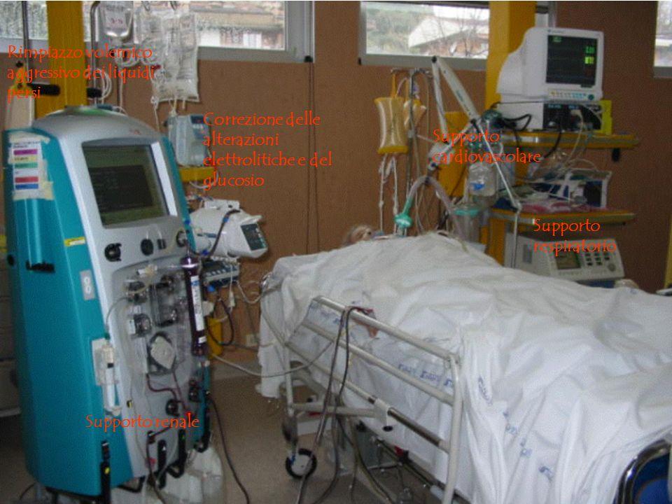 Supporto respiratorio Supporto renale Correzione delle alterazioni elettrolitiche e del glucosio Rimpiazzo volemico aggressivo dei liquidi persi Supporto cardiovascolare