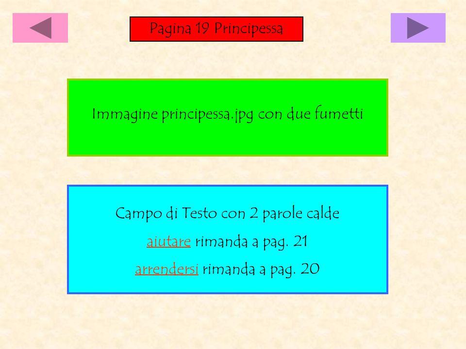 Pagina 19 Principessa Campo di Testo con 2 parole calde aiutare rimanda a pag. 21 arrendersi rimanda a pag. 20 Immagine principessa.jpg con due fumett