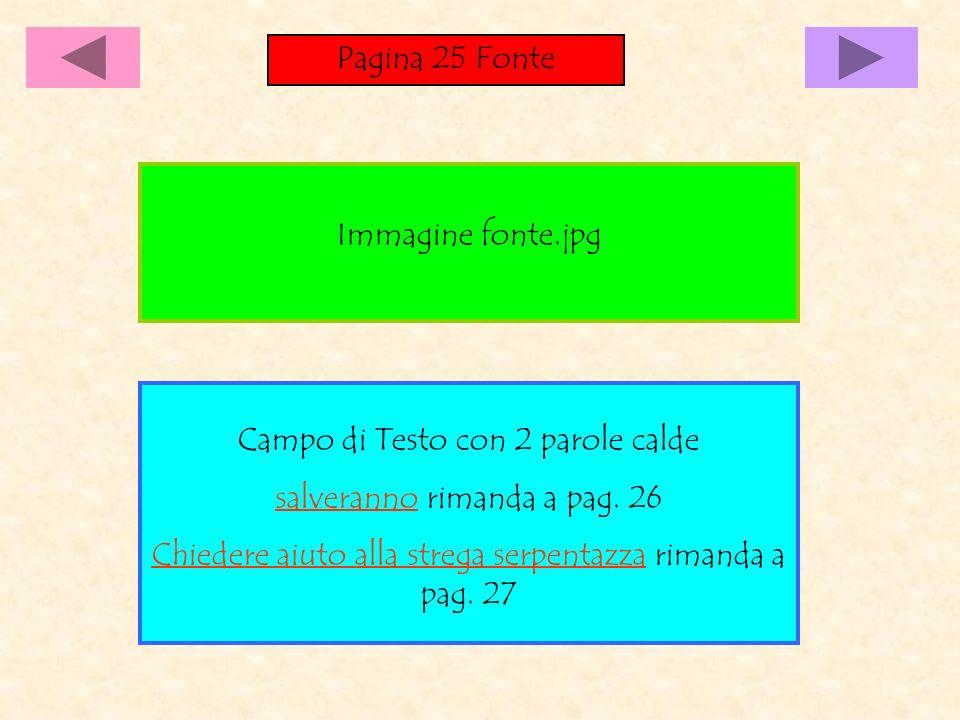 Pagina 25 Fonte Campo di Testo con 2 parole calde salveranno rimanda a pag.