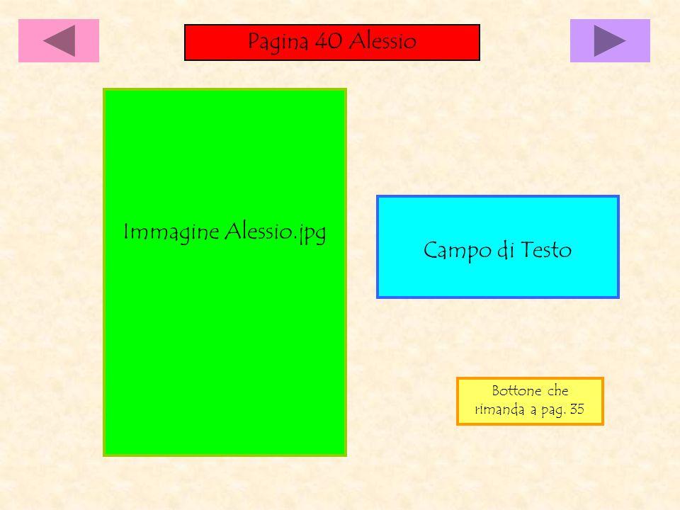 Pagina 40 Alessio Campo di Testo Immagine Alessio.jpg Bottone che rimanda a pag. 35