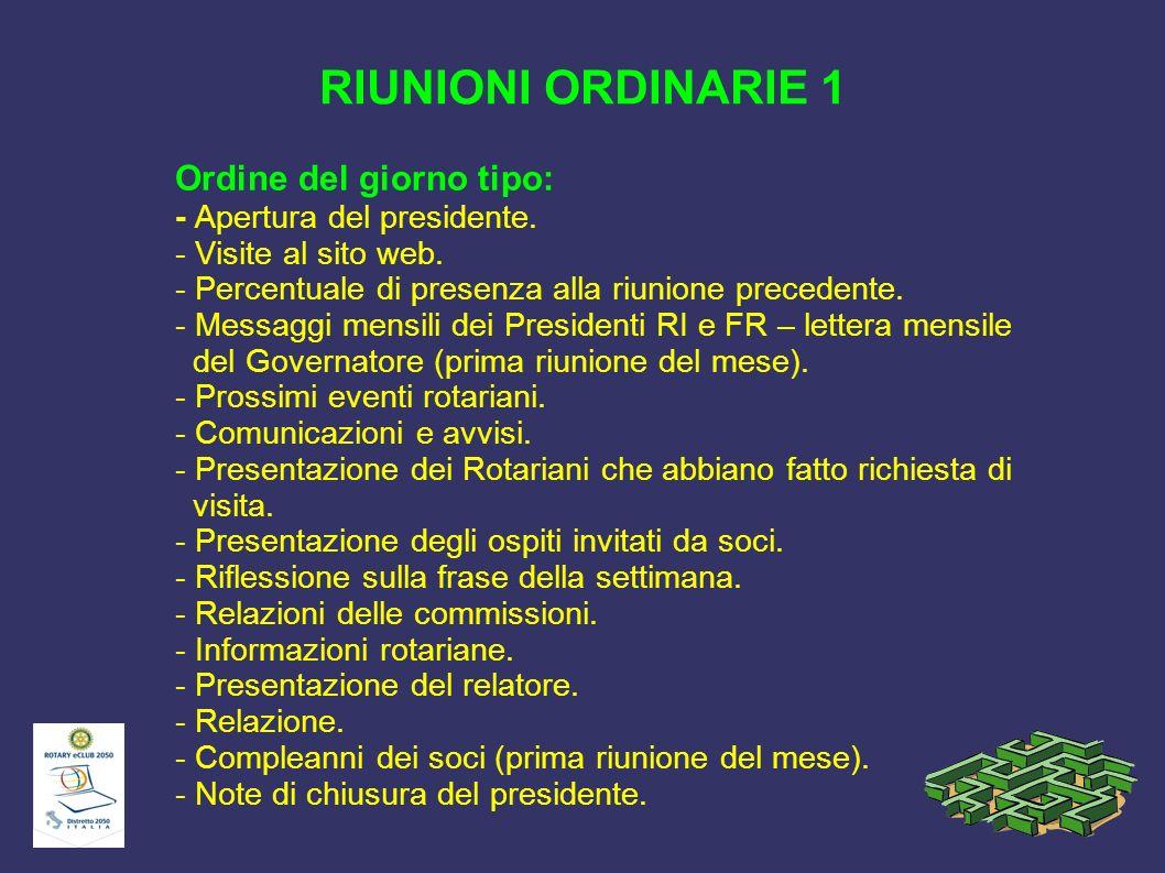 RIUNIONI ORDINARIE 1 Ordine del giorno tipo: - Apertura del presidente. - Visite al sito web. - Percentuale di presenza alla riunione precedente. - Me