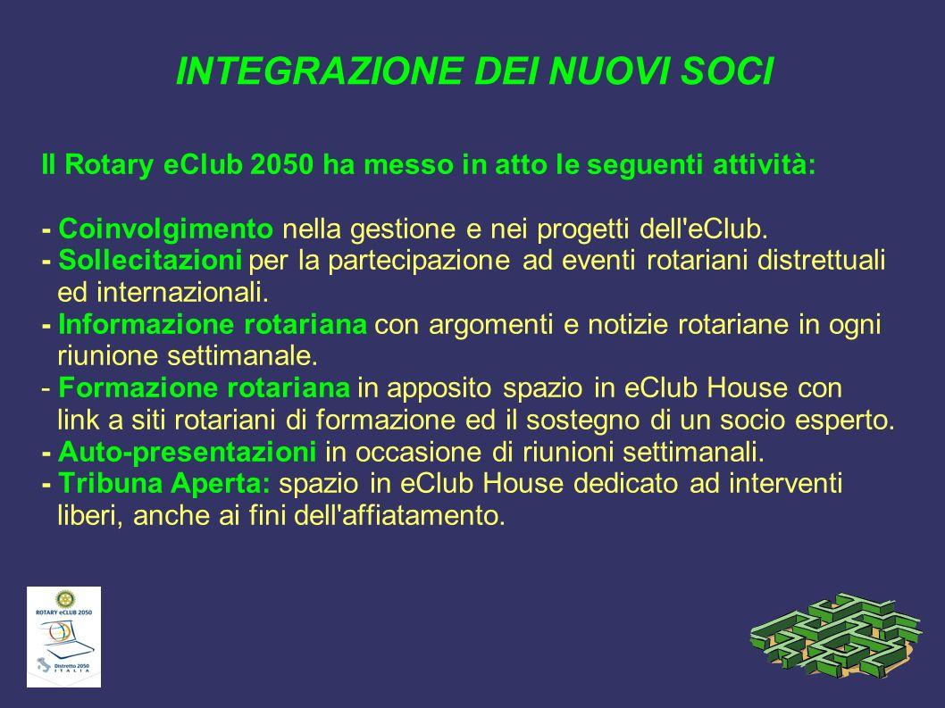 INTEGRAZIONE DEI NUOVI SOCI Il Rotary eClub 2050 ha messo in atto le seguenti attività: - Coinvolgimento nella gestione e nei progetti dell'eClub. - S
