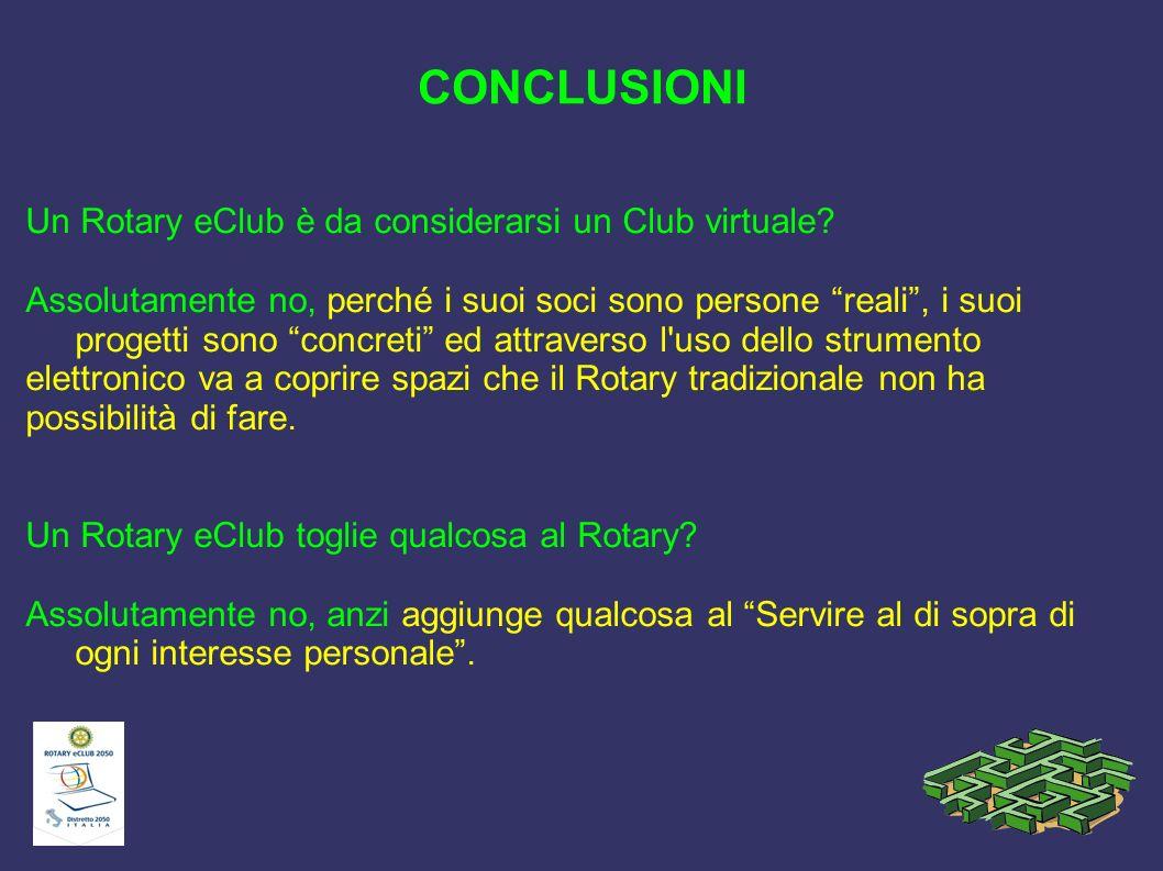 CONCLUSIONI Un Rotary eClub è da considerarsi un Club virtuale? Assolutamente no, perché i suoi soci sono persone reali, i suoi progetti sono concreti