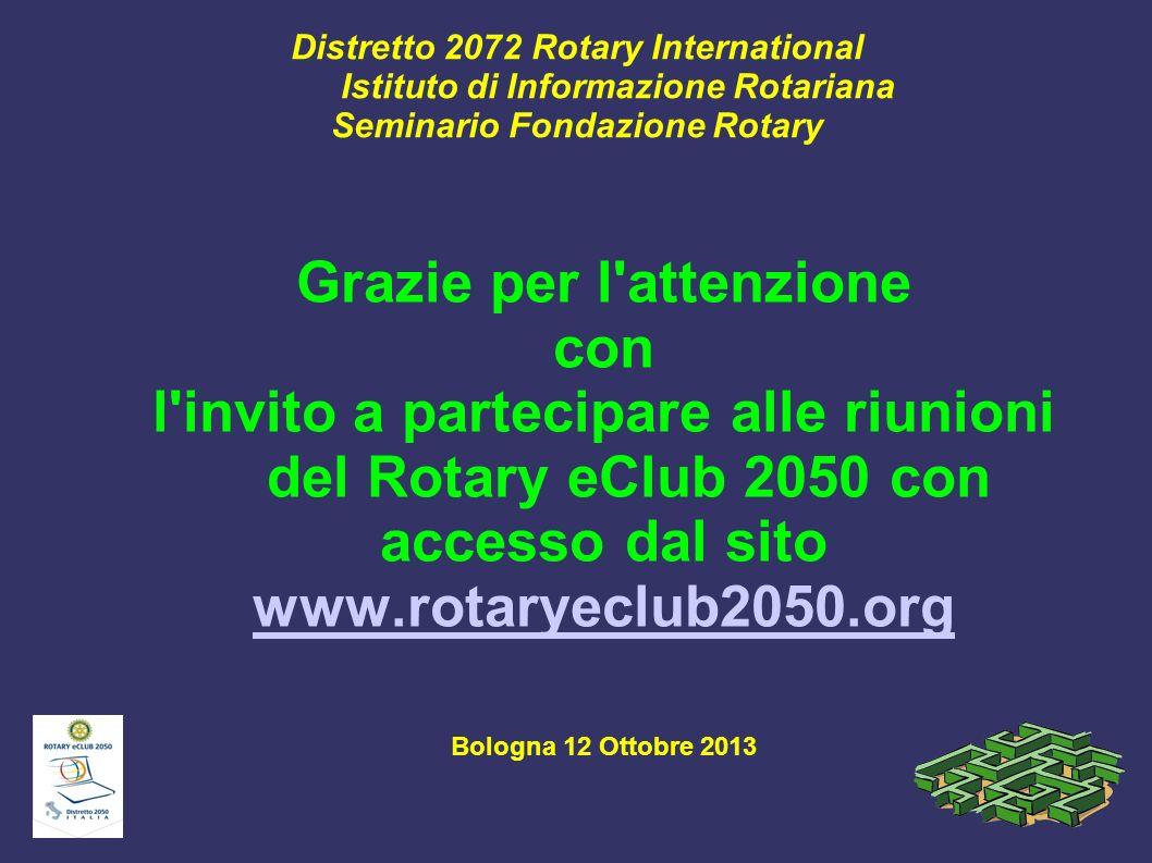 Distretto 2072 Rotary International Istituto di Informazione Rotariana Seminario Fondazione Rotary Grazie per l'attenzione con l'invito a partecipare
