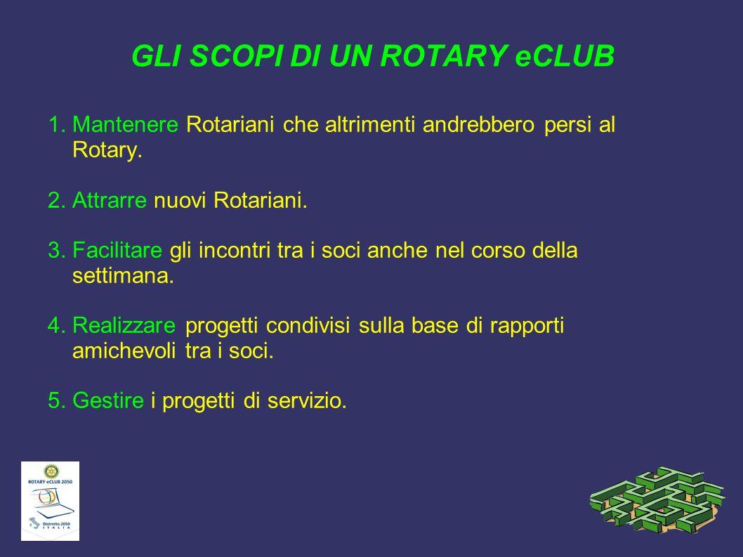 GLI SCOPI DI UN ROTARY eCLUB 1. Mantenere Rotariani che altrimenti andrebbero persi al Rotary. 2. Attrarre nuovi Rotariani. 3. Facilitare gli incontri