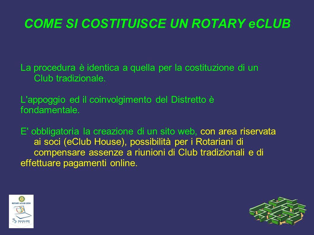 COME SI COSTITUISCE UN ROTARY eCLUB La procedura è identica a quella per la costituzione di un Club tradizionale. L'appoggio ed il coinvolgimento del
