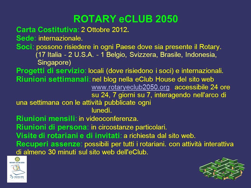 ROTARY eCLUB 2050 Carta Costitutiva: 2 Ottobre 2012. Sede: internazionale. Soci: possono risiedere in ogni Paese dove sia presente il Rotary. (17 Ital