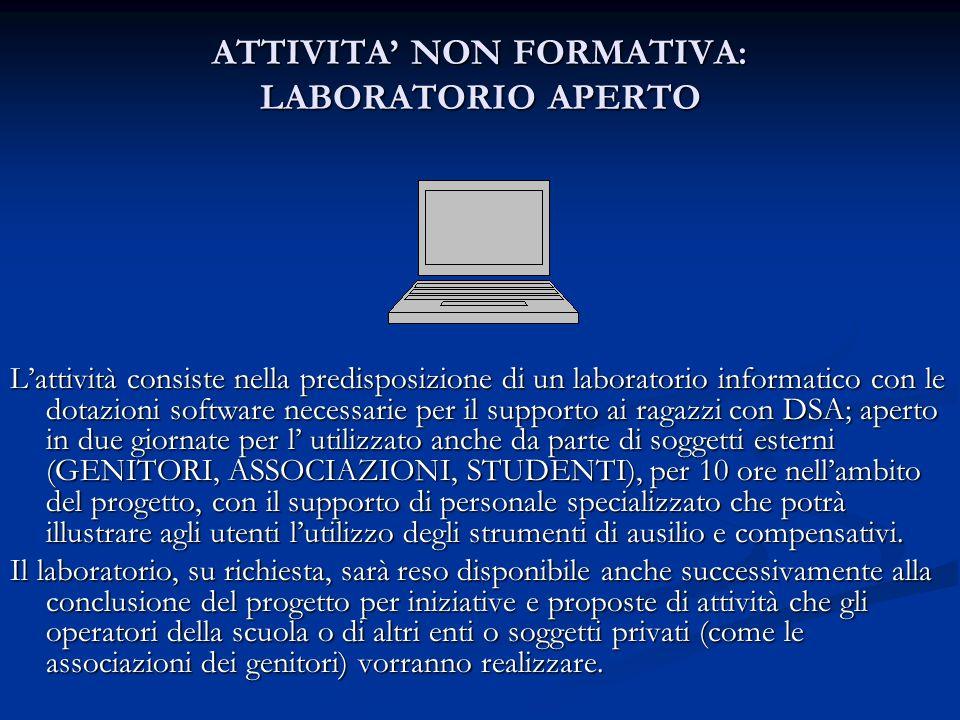 ATTIVITA NON FORMATIVA: LABORATORIO APERTO Lattività consiste nella predisposizione di un laboratorio informatico con le dotazioni software necessarie