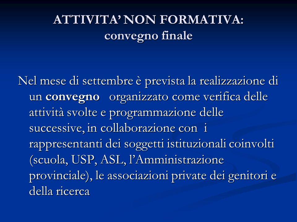 ATTIVITA NON FORMATIVA: convegno finale Nel mese di settembre è prevista la realizzazione di un convegno organizzato come verifica delle attività svol
