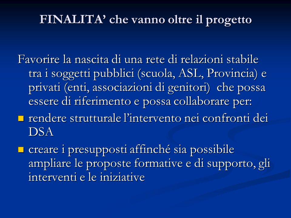 FINALITA che vanno oltre il progetto Favorire la nascita di una rete di relazioni stabile tra i soggetti pubblici (scuola, ASL, Provincia) e privati (