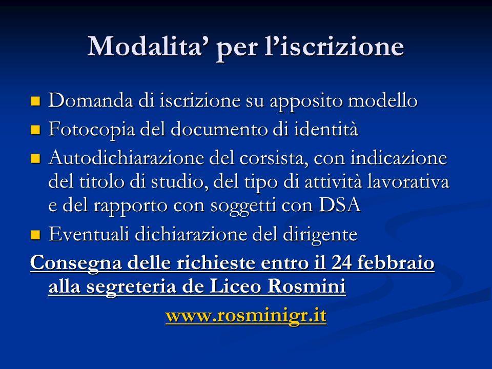 Modalita per liscrizione Domanda di iscrizione su apposito modello Domanda di iscrizione su apposito modello Fotocopia del documento di identità Fotoc