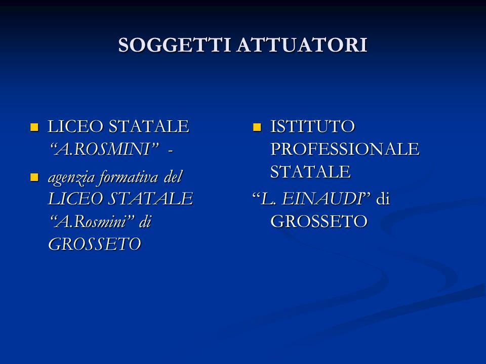 SOGGETTI ATTUATORI LICEO STATALE A.ROSMINI - LICEO STATALE A.ROSMINI - agenzia formativa del LICEO STATALE A.Rosmini di GROSSETO agenzia formativa del