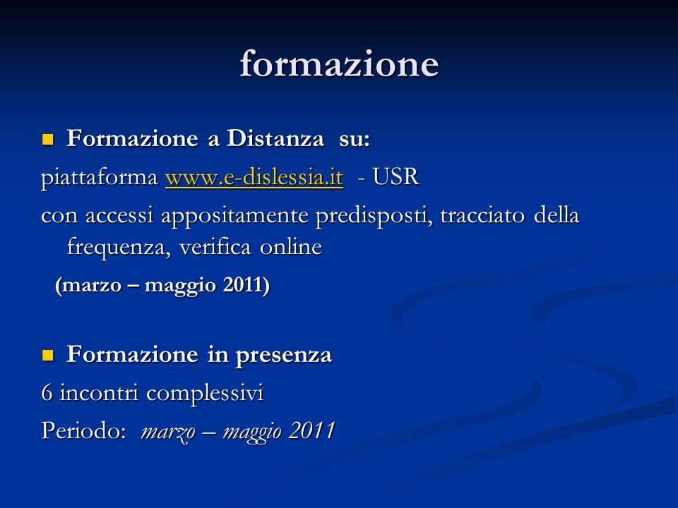 formazione Formazione a Distanza su: Formazione a Distanza su: piattaforma www.e-dislessia.it - USR www.e-dislessia.it con accessi appositamente predi