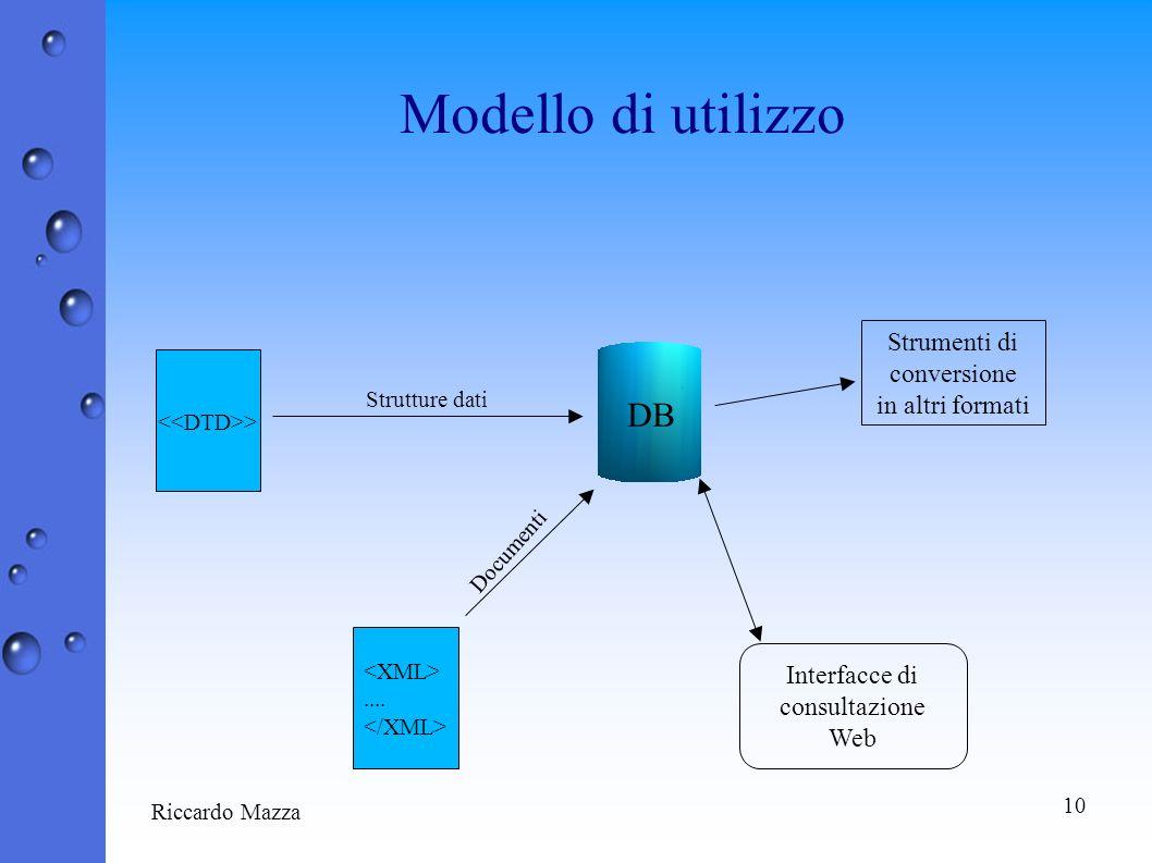 10 Riccardo Mazza Modello di utilizzo > DB.... Strutture dati Documenti Interfacce di consultazione Web Strumenti di conversione in altri formati