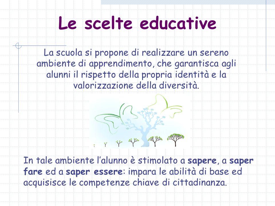 Le scelte educative La scuola si propone di realizzare un sereno ambiente di apprendimento, che garantisca agli alunni il rispetto della propria ident