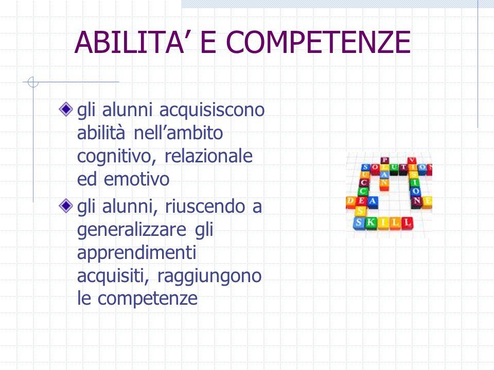 ABILITA E COMPETENZE gli alunni acquisiscono abilità nellambito cognitivo, relazionale ed emotivo gli alunni, riuscendo a generalizzare gli apprendime