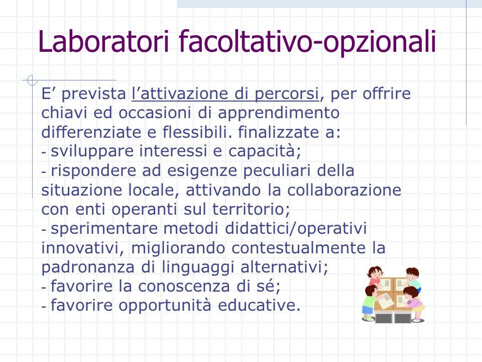 Laboratori facoltativo-opzionali E prevista lattivazione di percorsi, per offrire chiavi ed occasioni di apprendimento differenziate e flessibili. fin