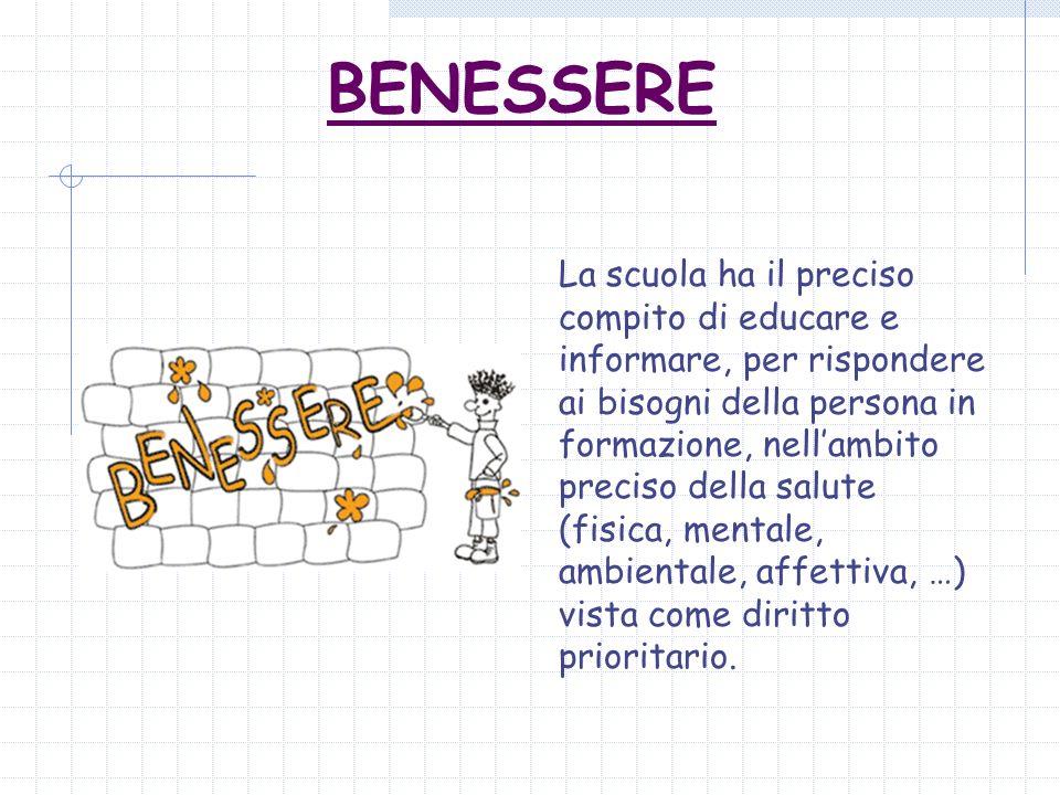 BENESSERE La scuola ha il preciso compito di educare e informare, per rispondere ai bisogni della persona in formazione, nellambito preciso della salu