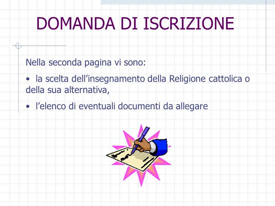 DOMANDA DI ISCRIZIONE Nella seconda pagina vi sono: la scelta dellinsegnamento della Religione cattolica o della sua alternativa, lelenco di eventuali