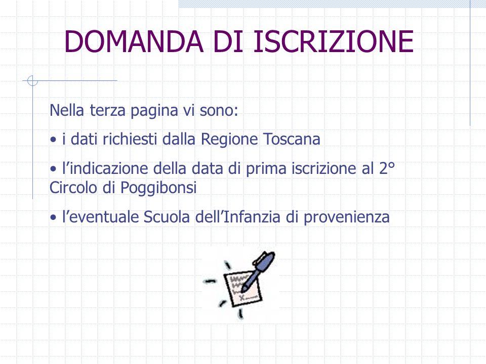 DOMANDA DI ISCRIZIONE Nella terza pagina vi sono: i dati richiesti dalla Regione Toscana lindicazione della data di prima iscrizione al 2° Circolo di