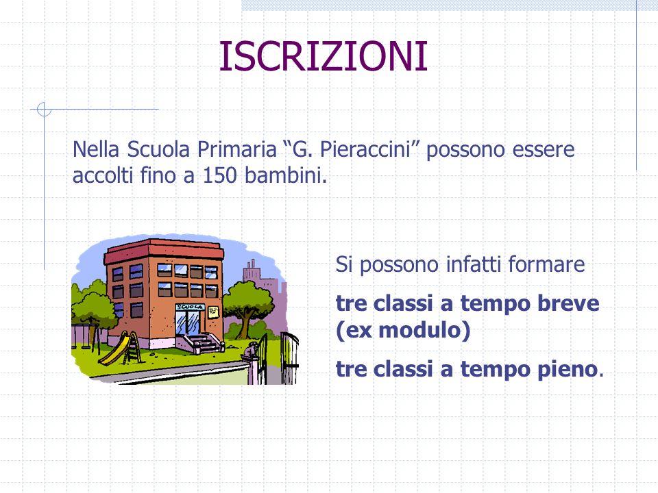 ISCRIZIONI Nella Scuola Primaria G. Pieraccini possono essere accolti fino a 150 bambini. Si possono infatti formare tre classi a tempo breve (ex modu