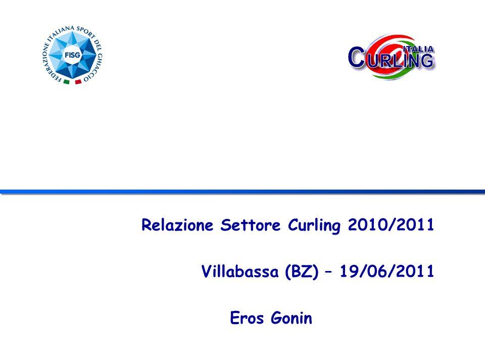 AREA GESTIONE SQUADRE NAZIONALI (3) RISULTATI ASSOLUTO MASCHILE 1° posto gruppo B – ECC a Champery Promozione gruppo A stagione 2011/2012 ASSOLUTO FEMMINILE 2° posto gruppo B – ECC a Champery Promozione gruppo A stagione 2011/2012 JUNIORES FEMMINILE/MASCHILE Medaglia bronzo EJCC Prague 3° posto Curling Champion Tour Junior - maschile 7° posto Curling Champion Tour Junior - femminile Edimburgo 1°-2° posto