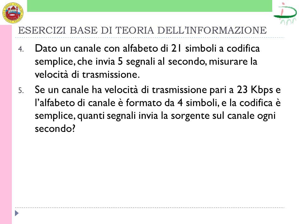 ESERCIZI BASE DI TEORIA DELLINFORMAZIONE 4.