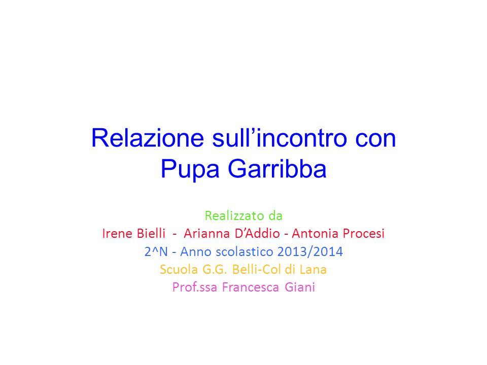 Relazione sullincontro con Pupa Garribba Realizzato da Irene Bielli - Arianna DAddio - Antonia Procesi 2^N - Anno scolastico 2013/2014 Scuola G.G. Bel