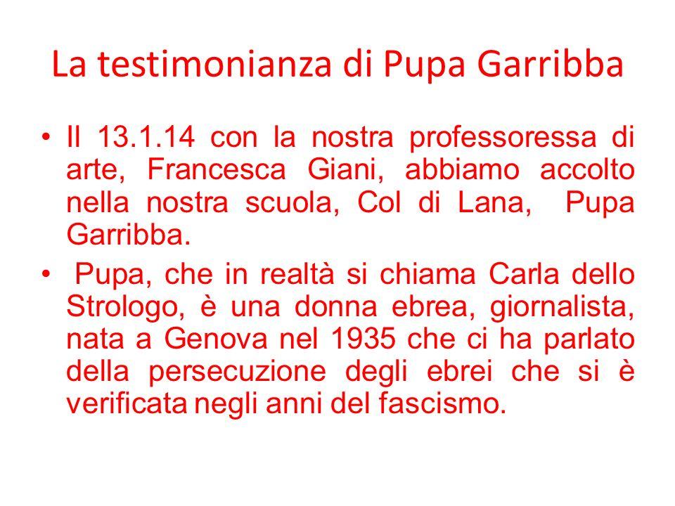La testimonianza di Pupa Garribba Il 13.1.14 con la nostra professoressa di arte, Francesca Giani, abbiamo accolto nella nostra scuola, Col di Lana, P