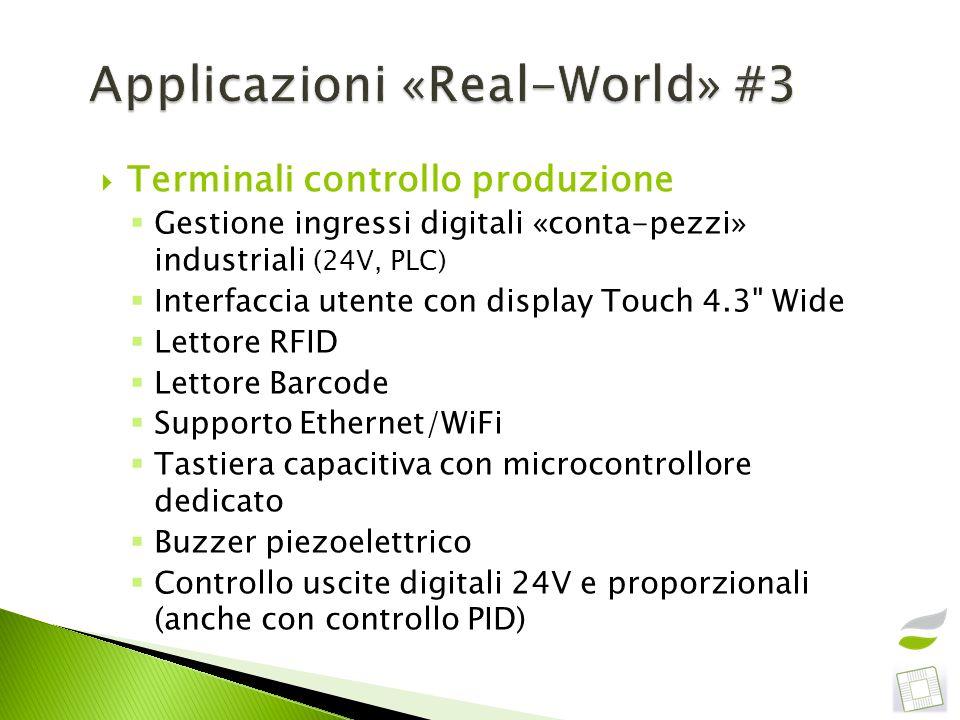 Terminali controllo produzione Gestione ingressi digitali «conta-pezzi» industriali (24V, PLC) Interfaccia utente con display Touch 4.3